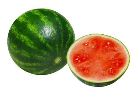 One and a half watermelons isolated on white