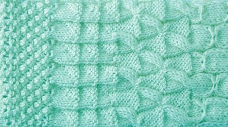 Yarn Knitted Pattern for  background in mint color photo