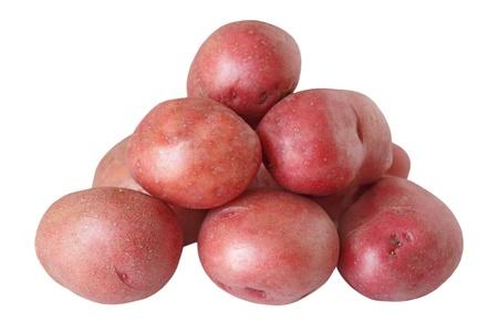 白い背景で隔離赤いジャガイモの山 写真素材