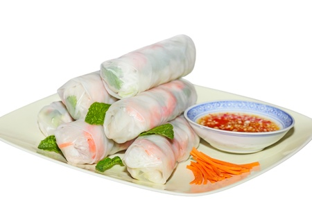 Spring rolls, Vietnamese Cuisine, isolated on white background photo