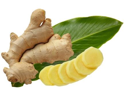 Ginger głównego i liści samodzielnie na biały