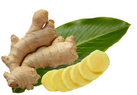 Ginger root and leaf isolated on white
