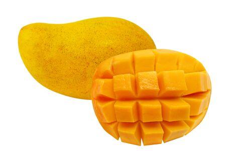白で隔離される 1 つの半分のマンゴー