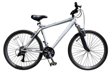handle bars: Bicicleta de bicicleta de monta�a aislada sobre fondo blanco
