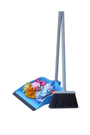 Flip lock dust pan lobby broom with trash paper photo