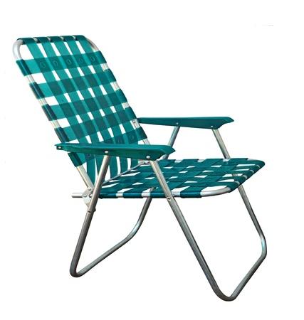 芝生の庭の椅子白で隔離