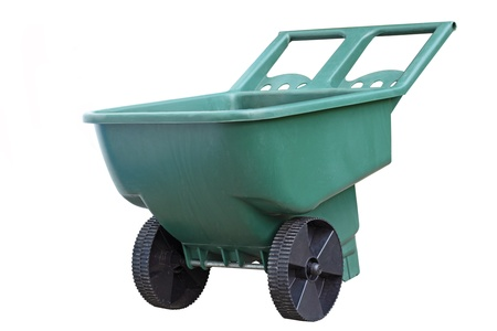 barrow: Yard two wheel wheelbarrow isolated on white Stock Photo