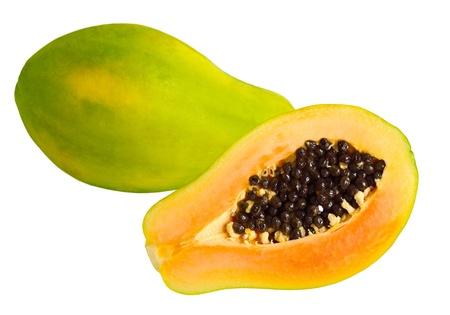 papaw: Fresh papaya papaw fruit isolated on white background