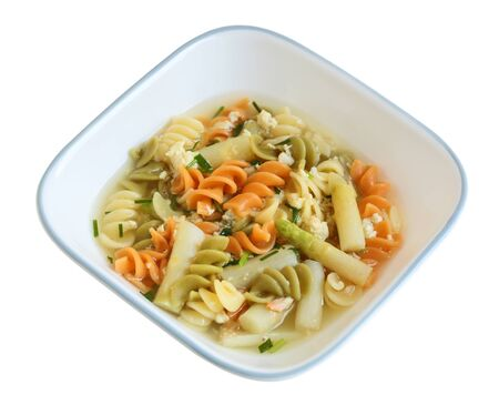 tri color: Crab meat soup with tricolor rotini macaroni, crab meat, asparagus and herbs