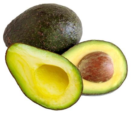 avocado: Due avacadoes isolato su sfondo bianco Archivio Fotografico