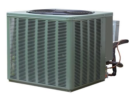 aire acondicionado: Residenciales de alta eficiencia del aire acondicionado central fuera de la unidad Foto de archivo
