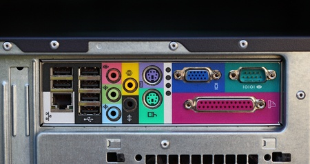circuitboard: Colorful ports on motherboard of the computer