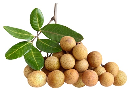 longan: Dimocarpus longan exotic fruits isolated on white background Stock Photo