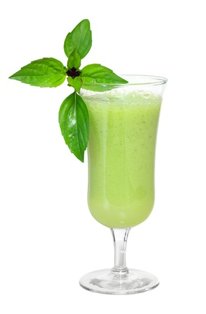 Green vegetable smoothie with basil
