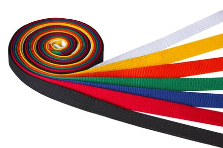 Tae kwon do belt rank from low to high white, yellow, orange, green, blue, red, and black