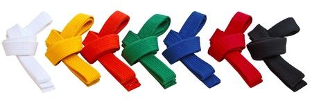 judo: Conjunto de Tae Kwon Do Cinturones aislado en blanco