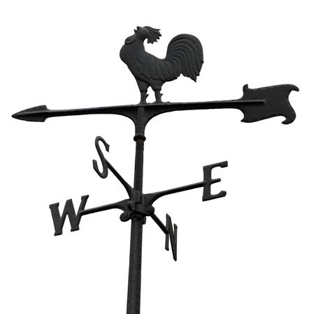 Metal windvane weathercock isolated on white