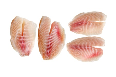 tilapia: Tilapia fillets, fresh water fish, isolated on white background