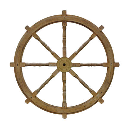 Old wooden ship wheel isolated on white background