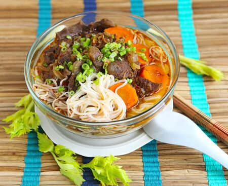 asian noodle:  Beef Stew with noodle, Vietnamese cuisine