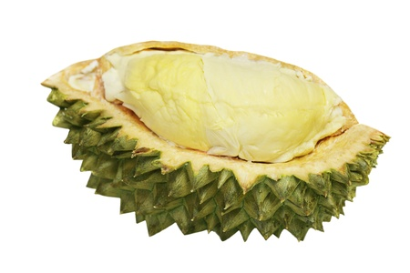Clove of Durian, king of the fruit, isolated on white Stock Photo