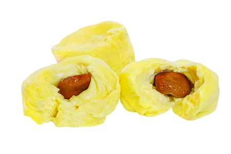 Three durian cloves with seeds isolated on white
