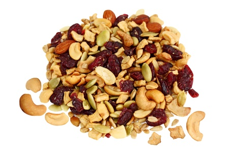 Trail Mix of dried cranberries, sunflower nuts, cashews, pumpkin seeds, almonds, apples photo