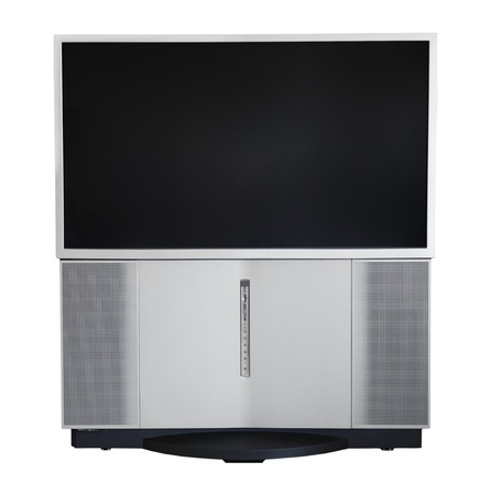 Old High Definition HD Widescreen rear projection TV HDTV Television 版權商用圖片 - 12440974