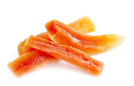 Bastoncini di papaia secchi su sfondo bianco Archivio Fotografico