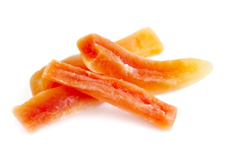 Dried papaya sticks over white background