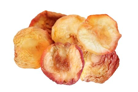 dehydrated: Dehydrated Red Peaches isolated on white Stock Photo