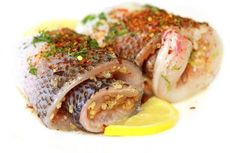 whitefish: Seasoning two rolls of whitefish fillets
