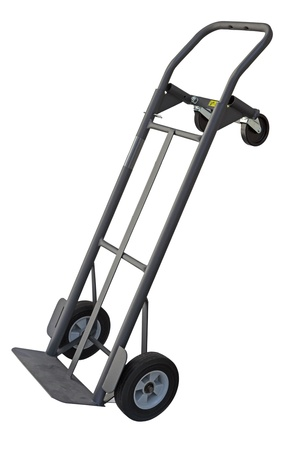 hand truck: Dolly hand truck with four wheels convertible isolated on white Stock Photo