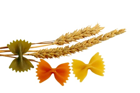 Farfalle pasta and Wheat isolated on white background Stock Photo - 13273975