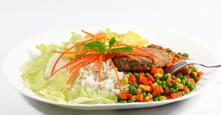 Plate of rice with pork and vegetable photo