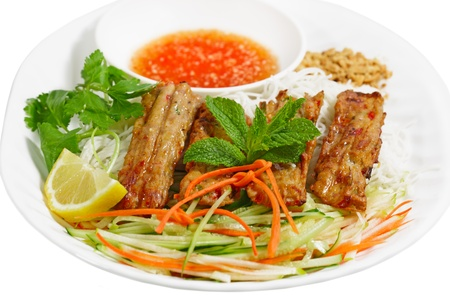 Vermicelli dish with grilled ground pork and shrimp and fish sauce, Vietnamese cuisine