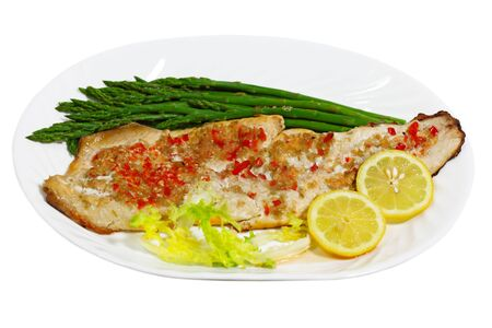 whitefish: Grilled Whitefish white fish with asparagus Stock Photo