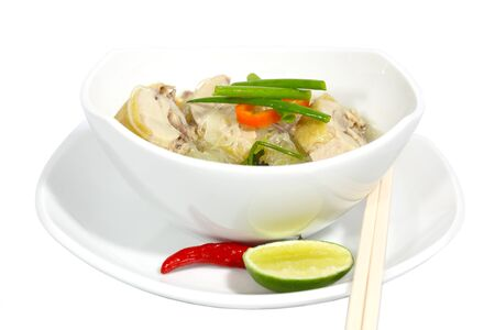 vietnamese food: Bowl of chicken noodle isolated on white Stock Photo