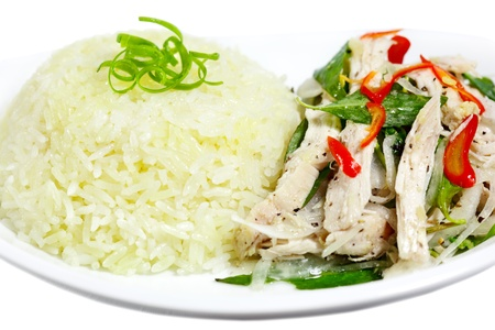 shreded: Dish of rice and coarsely shredded chicken with hot mint Vietnamese Cuisine Stock Photo
