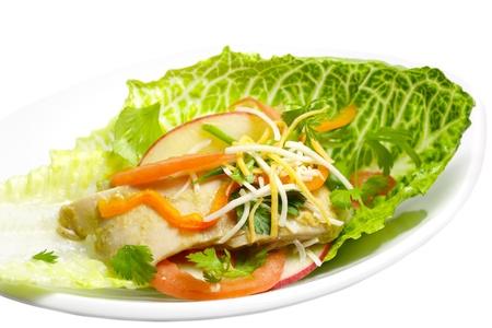 romaine: Shredded chicken seasoned with ginger over romaine lettuce