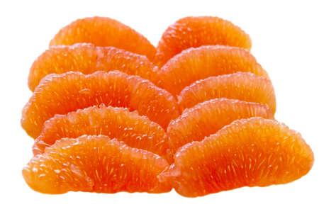 Flesh of grapefruit segments isolated on white