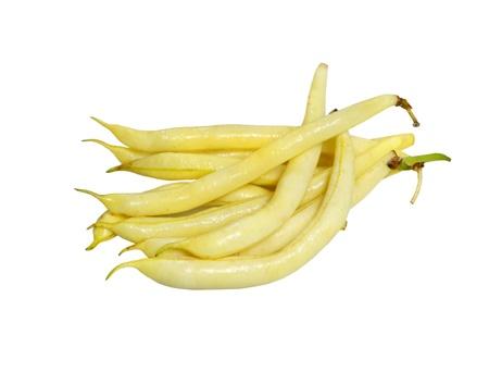 Bundel van gele wasbonen op een witte achtergrond