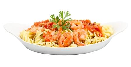 fusilli: Dish of shrimp and Fusilli  rotini pasta Stock Photo
