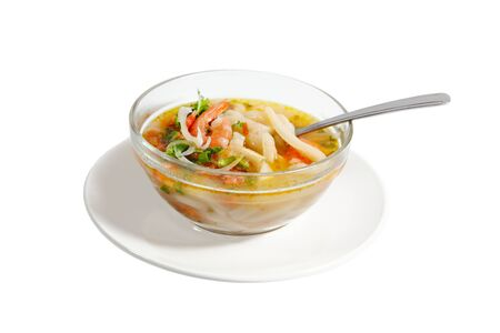 Shrimp and crab soup with thick Vietnamese noodle