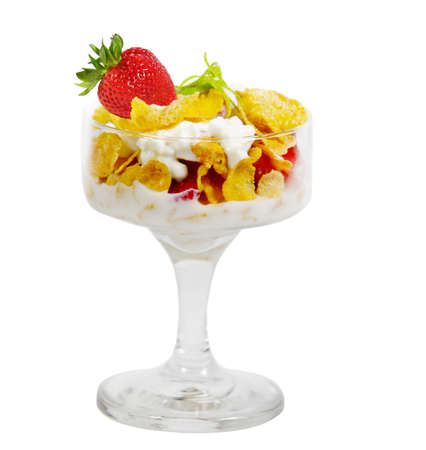 Corn flakes, strawberry with milk and cottage cheese Imagens