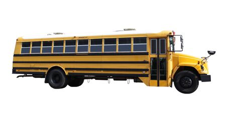 Empty school bus isolated on white background photo