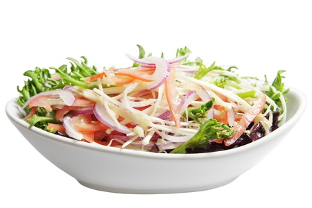 Enoki and Chicory Lettuce Salad with red onion, tomato Stock Photo