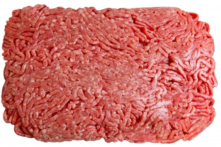 forcemeat: Lean ground beef isolated on white background Stock Photo