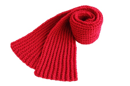 red scarf: Handmade knitted wool scarf isolated on white background