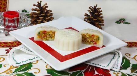 Vietnamese homemade fruit cake from glutinous rice and tropical jam